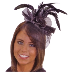 Black Flower Headband with Feather