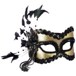 Venetian Black and Gold Half Mask with Feathers