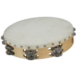 Deluxe Tambourine with Authentic Skin Head