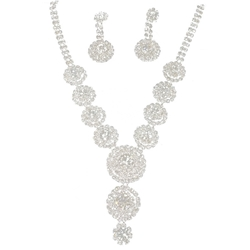 Rhinestone Earring and Necklace Set