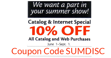 Use Coupon Code SUMDISC to receive 10% off your sale order