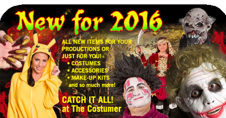 Check out our selection of new Halloween costumes, theatrical costumes,makeup, dancewear, props, accessories, decorations, and more.
