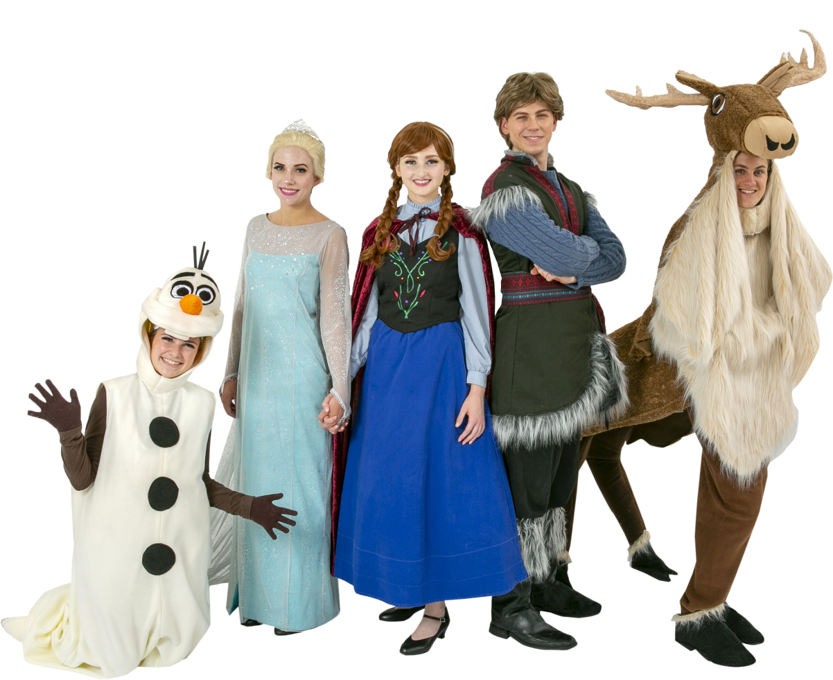 Frozen Olaf Snowman, Elsa Ice Dress, Anna Travelling Outfit, Kristoff, and four legged Sven Rental Costumes