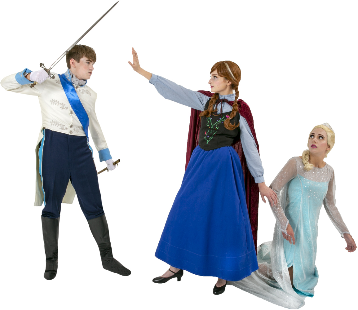 Frozen Prince Hans, Anna in her Travelling Dress, Elsa in her Ice Dress Rental Costumes