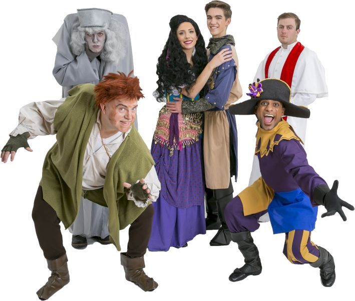 Rental Costumes for Hunchback of Notre Dame - Back Row (Left to right) Gargoyle, Esmeralda, Captain Phoebus de Martin, Father Dupin. Front Row (Left to right) Quasimodo, Clopin Trouillefou