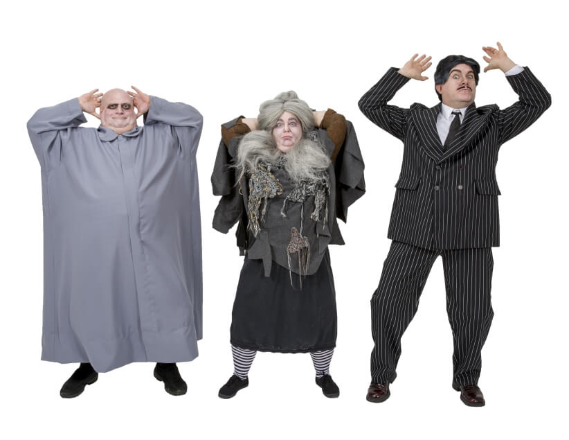 Rental Costumes for The Addams Family - Uncle Fester, Grandmama Addams, Gomez Addams