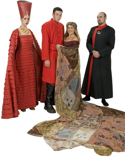 Rental Costumes for Aida - Amneris in her museum dress, Radames dressed as an Egyptian soldier, Aida in her mantle of authority, Chief Minister Zoser