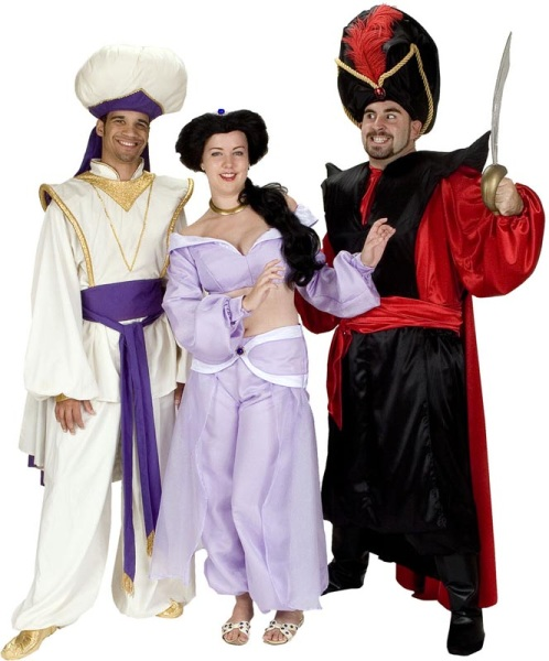 Rental Costumes for Aladdin Jr. - Aladdin dressed as Prince Ali, Jasmine, Jafar