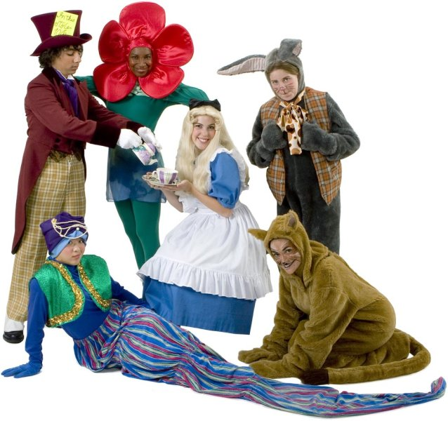 Rental Costumes for Alice in Wonderland - Mad Hatter, Rose, Alice, March Hare, Caterpillar, Cheshire Cat