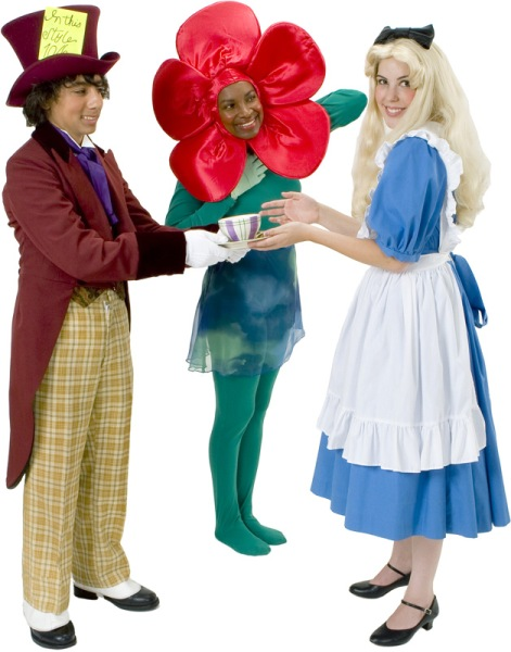 Rental Costumes for Alice in Wonderland - Mad Hatter, Rose, Alice