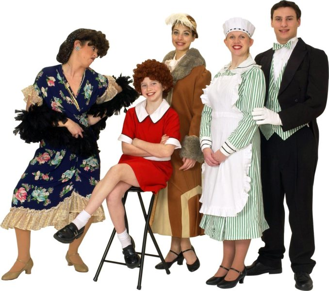 "Rental Costumes for Annie - Mrs. Hannigan, Annie in her iconic red dress, Grace Farrell, Oliver 'Daddy"" Warbucks, Warbucks' household staff, the butler Drake"