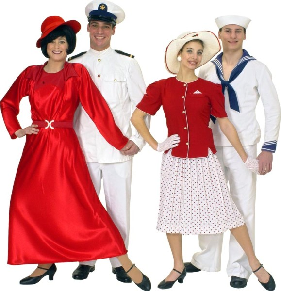 "Rental Costumes for Anything Goes - Reno Sweeney, Captain of the SS ""American,"" Hope Harcourt, Billy Crocker dressed as a sailor"