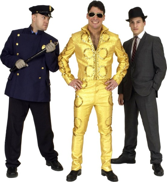 Rental Costumes for Bye Bye Birdie - New York City Police Officer, Conrad Birdie in his gold metallic motorcycle outfit, Albert Peterson