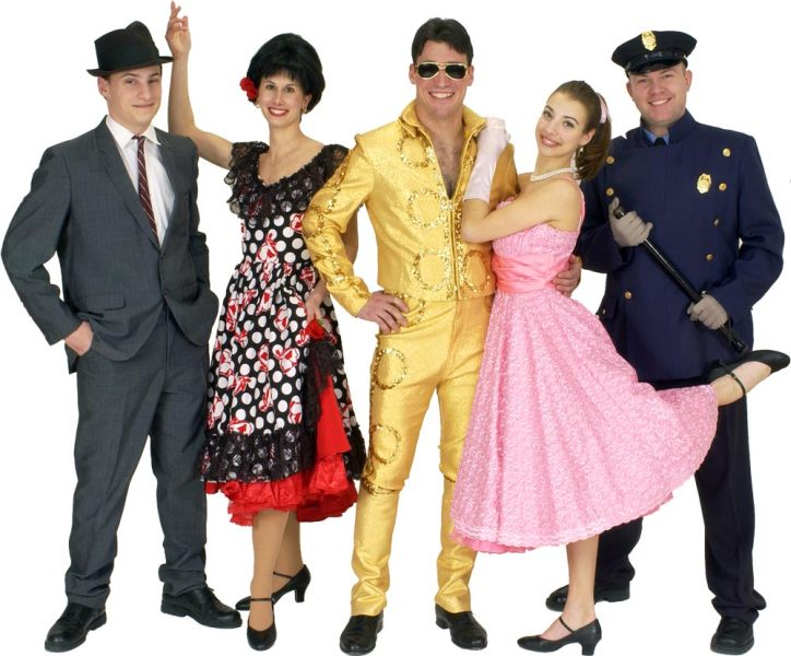 "Rental Costumes for Bye Bye Birdie - Albert Peterson, Rosie Alvarez in her ""Spanish Rose"" dress, Conrad Birdie in his gold metallic motorcycle outfit, Kim Macafee, New York City Police Officer"