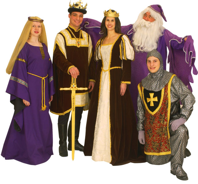 Rental Costumes for Camelot - Nimue, King Arthur, Guenevere, and Lancelot