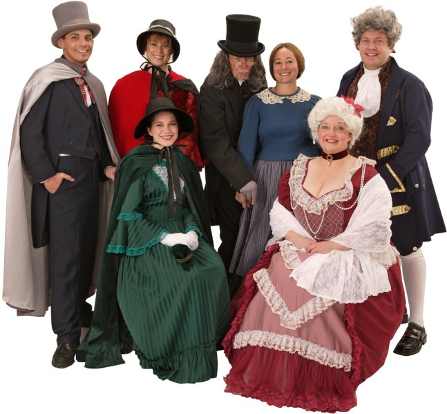 Rental Costumes for A Christmas Carol - Scrooge's Nephew Fred, Female Carolers, Ebenezer Scrooge, Mrs. Cratchit, Fezziwig, Mrs. Fezziwig