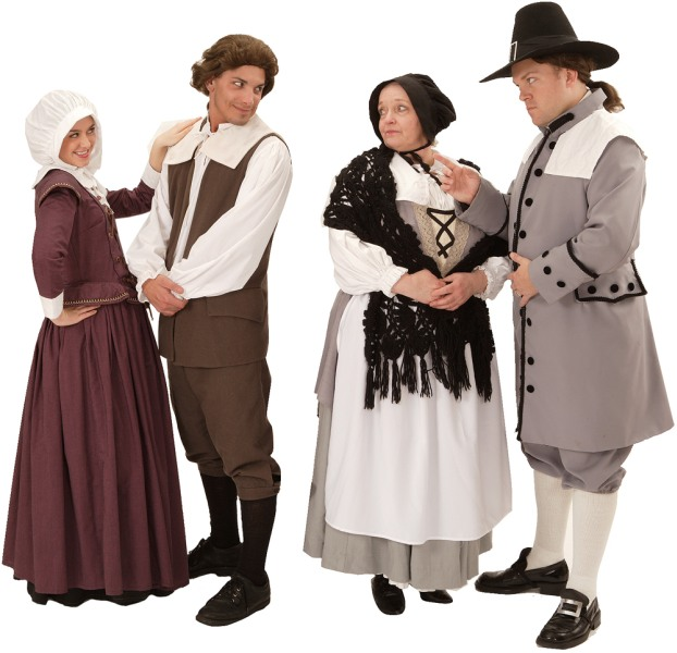 Rental Costumes for The Crucible - Elizabeth Proctor, John Proctor, Mrs. Putnam, and Thomas Putnam