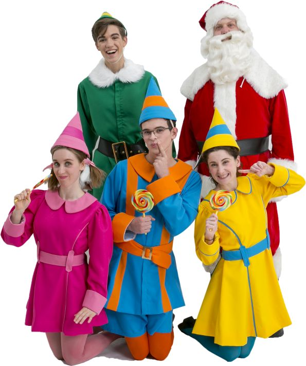 Elf the Musical Buddy, Santa, Jovie, and Elves