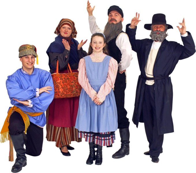 Rental Costumes for Fiddler on the Roof - Russian Villager, Yente the Matchmaker, Tevye's Daughter Tzeitel/Hodel/Chava, The Fiddler, and Tevye