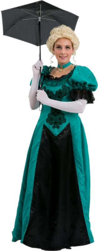 Time Period Green and Black Victorian Dress