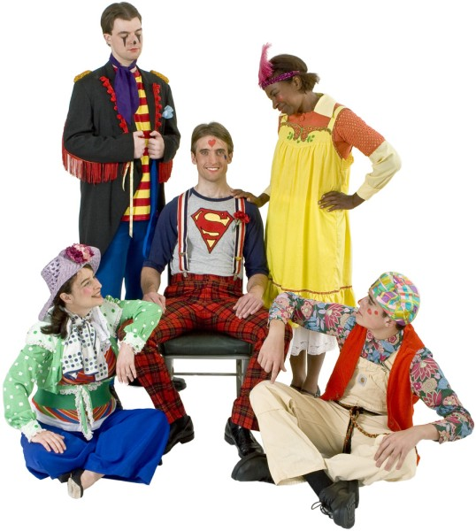 Rental Costumes for Godspell - Judas, Disciple #10; Robin, Disciple #3; Jesus as Superman; Sonya, Disciple #6; Herb, Disciple #