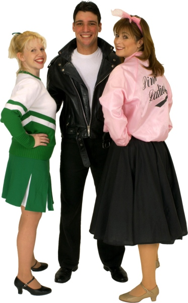 Rental Costumes for Grease - Rydell Cheerleader, Danny Zuko, and Pink Lady