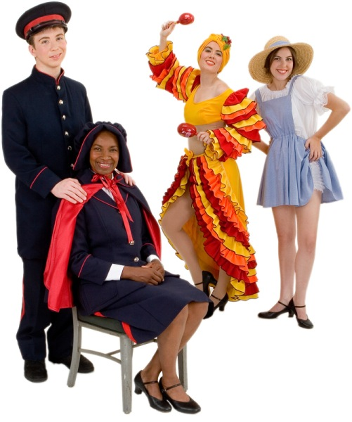 Rental Costumes for Guys and Dolls - Male Mission Uniform Navy Blue, Sarah Brown, Female Calypso Dancer, and Hot Box Girl in her Farmerette Outfit