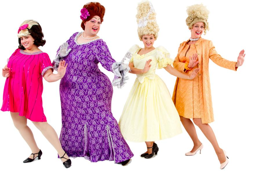 Rental Costumes for Hairspray - Tracy and Edna Turnblad in thier finale gowns, Amber and Velma Von Tussle in their Miss Hairspray dresses
