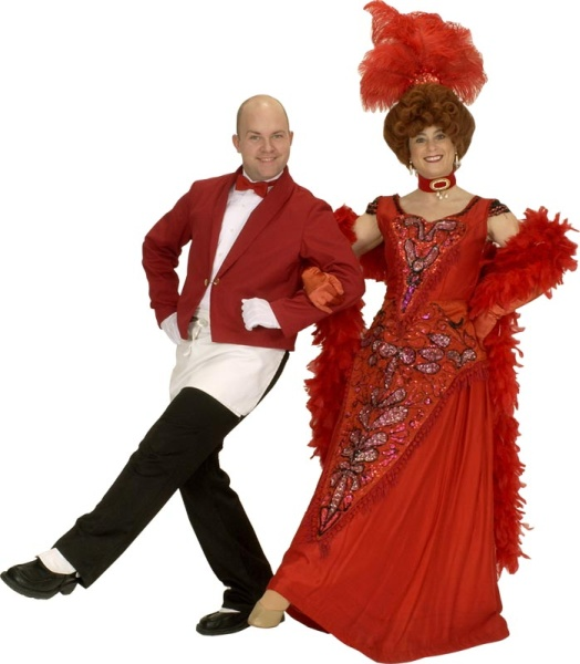 Rental Costumes for Hello Dolly - Head Waiter Rudolph from the Harmonia Gardens and  Dolly Levi in her heart dress