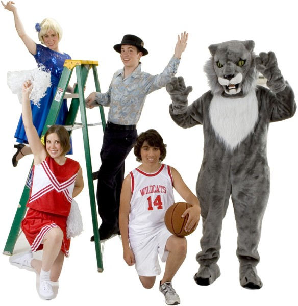 Rental Costumes for High School Musical - Sharpay Evans, East High School Cheerleader, Ryan Evans, Troy Bolton in his East High School Basketball uniform, East High School Wildcat Mascot