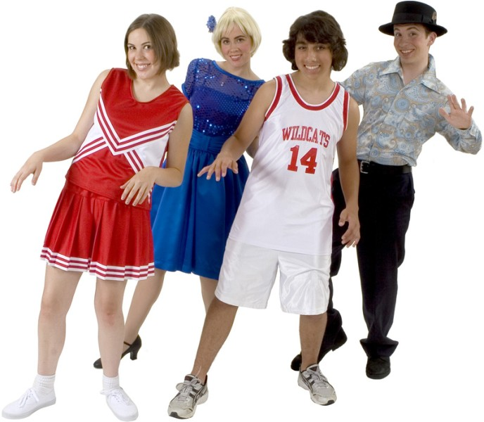 Rental Costumes for High School Musical - East High School Cheerleader, Sharpay Evans, Troy Bolton in his East High School Basketball uniform, Ryan Evans