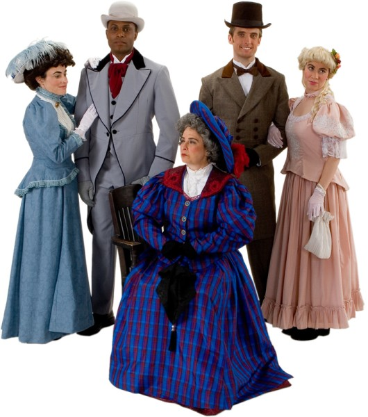 Rental Costumes for The Importance of Being Earnest - Miss Gwendolyn Fairfax, Mr. Jack Worthing, Lady Bracknell / Augusta Fairfax, Algernon Moncrieff and Cecily Cardew