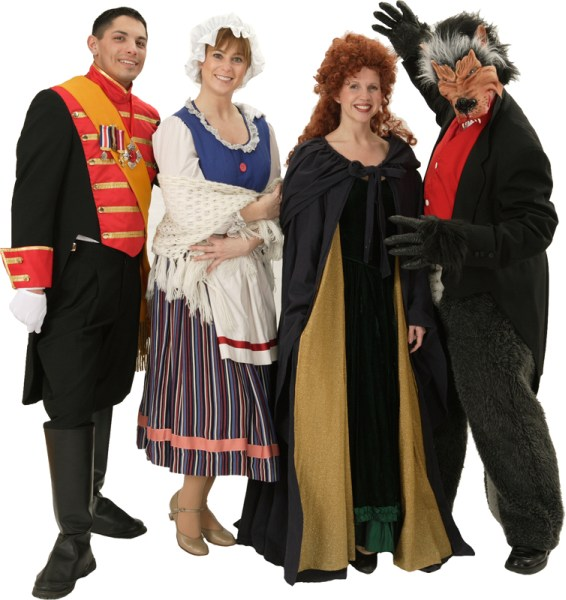 Rental Costumes for Into the Woods - Cinderella's Prince, Baker's Wife, Witch, Wolf