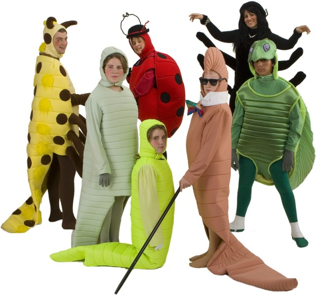 Rental Costumes for James and the Giant Peach - Mr. Centipede, Silkworm, Glowworm, Mrs. Ladybug, Earthworm, Miss Spider, Mr. Grasshopper