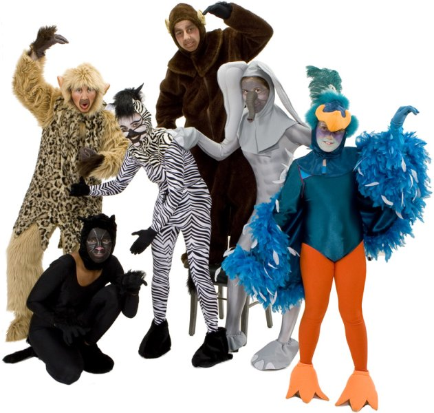 Rental Costumes for The Jungle Book - King Louie the Monkey, Bagheera the Panther, Sebra, Baloo the Bear, Colonel Hathi the Indian Elephant, Bird of the Jungle
