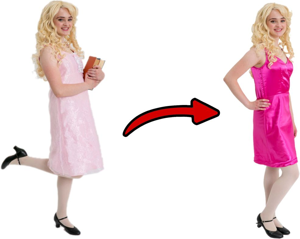 Legally Blonde Elle Woods Breakaway Dress (Light Pink Over Dress, Bright Pink Under Dress)