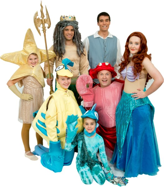 Rental Costumes for Disney's The Little Mermaid - Star Fish, King Triton, Prince Eric, Flounder, Sebastian, Ariel, Fish