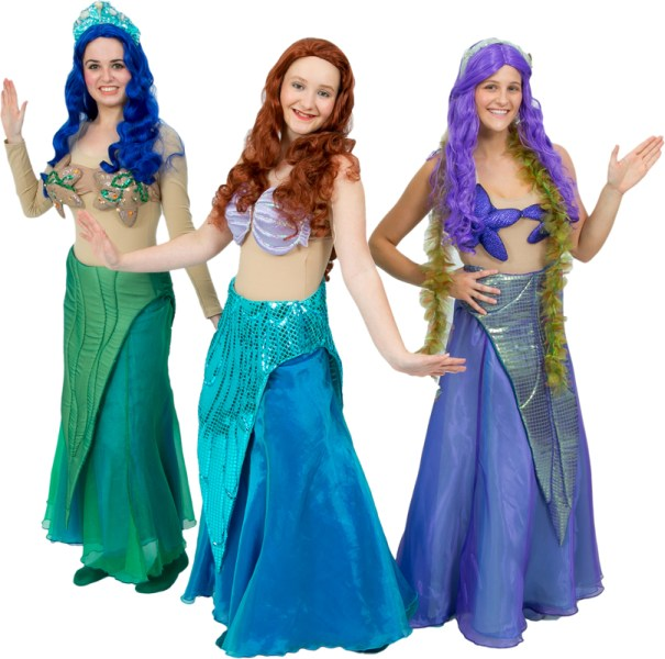 Rental Costumes for Disney's The Little Mermaid - Ariel, Two Mermaid Sisters