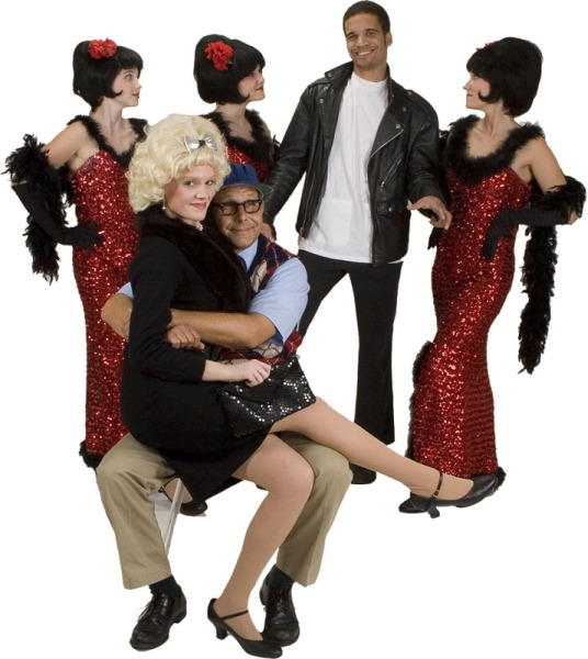 Rental Costumes for Little Shop of Horrors - Crystal, Ronnette, Chiffon, Orin Scrivello, Audrey, Seymour Krelborn