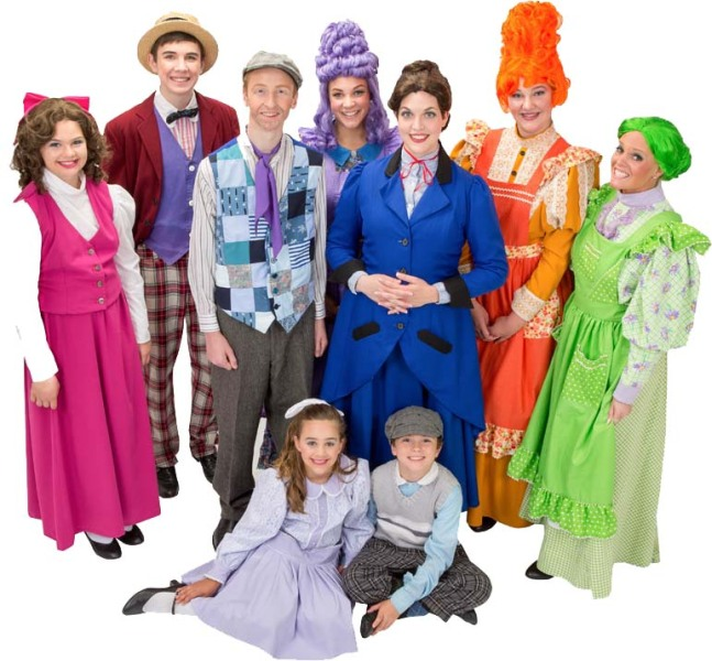 Rental Costumes for Mary Poppins – Conversation Shop Chorus Female, Conversation Shop Chorus Man, Burt, Mary Poppins, Annie (Purple), Mrs. Corry (Orange),  Fannie (Green), The Banks' Children Jane and Michael