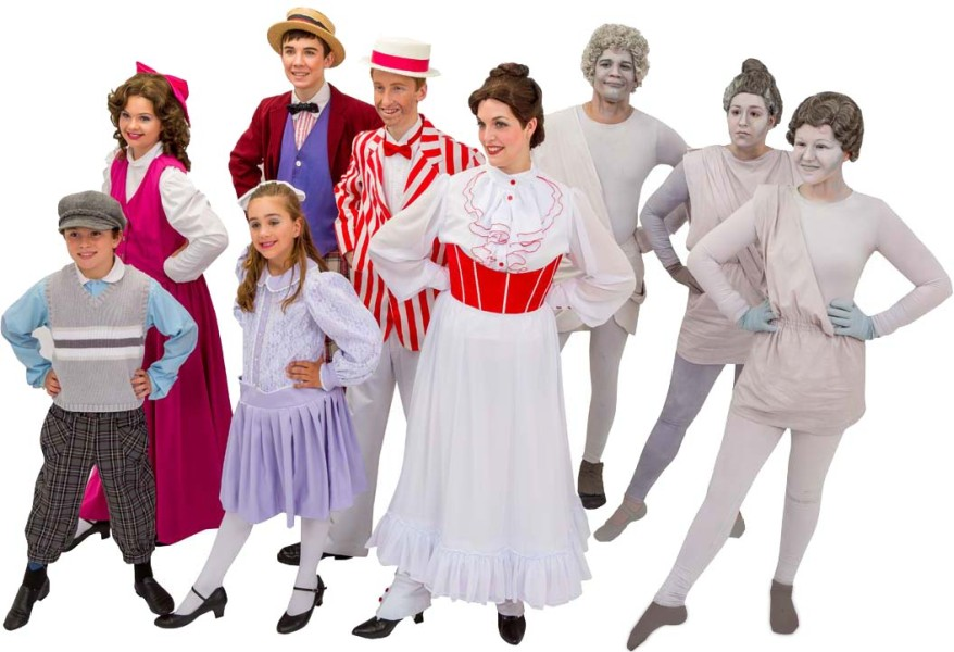Rental Costumes for Mary Poppins – Michael Banks, Conversation Shop Chorus Female, Jane Banks, Conversation Shop Chorus Male, Burt in Jolly Holiday Outfit, Mary Poppins in Jolly Holiday Outfit, Park Statues