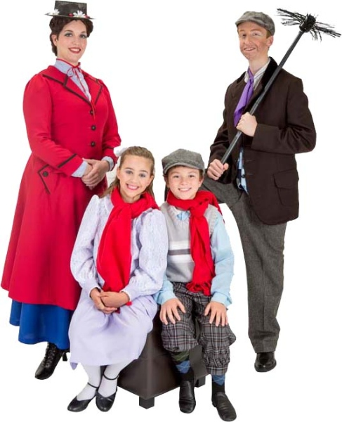 Rental Costumes for Mary Poppins – Mary Poppins, The Banks' Children Jane and Michael, Burt in chimney sweep outfit.