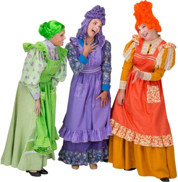 Rental Costumes for Mary Poppins – Fannie (Green), Annie (Purple), Mrs. Corry (Orange)