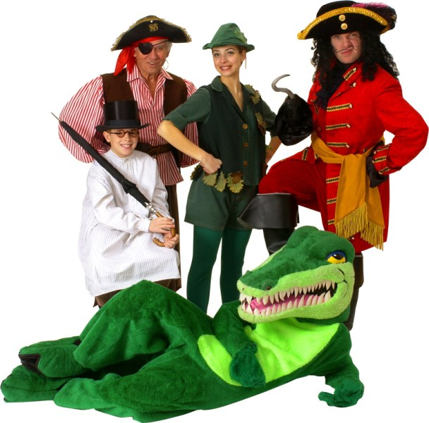 Rental Costumes for Peter Pan - John Darling, Smee, Peter Pan, Captain Hook, Crocodile