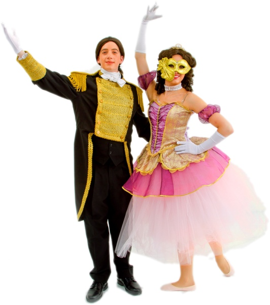 Rental Costumes for Phantom of the Opera , Andrew Lloyd Webber version - Raoul and Christine in their Masquerade costumes