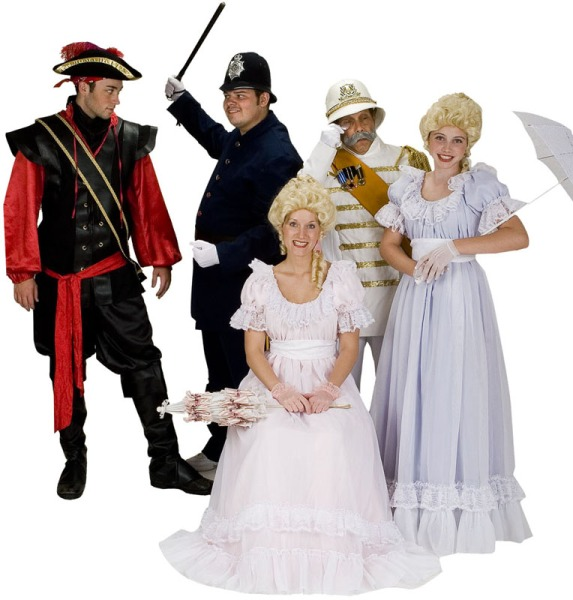 Rental Costumes for Pirates of Penzance - Pirate King, Sergeant of Police, Major General Stanley, Ladies' Chorus