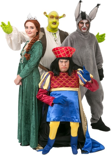 Rental Costumes for Shrek the Musical - Shrek, Princess Fiona, Donkey, and Lord Farquaad
