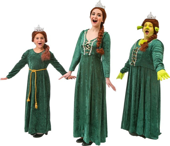 Rental Costumes for Shrek the Musical - Young Princess Fiona, Princess Fiona, and Princess Fiona as Ogre