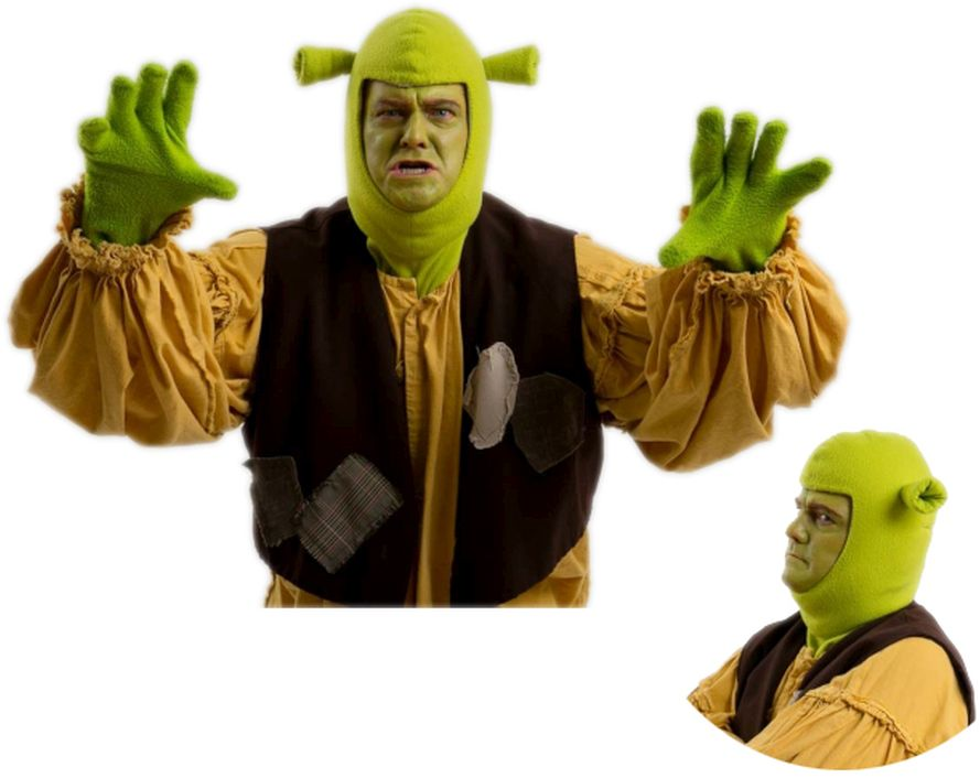 Shrek the Musical Fabric Hood included with rentals (Other pictures are with optional prosthetic hood)