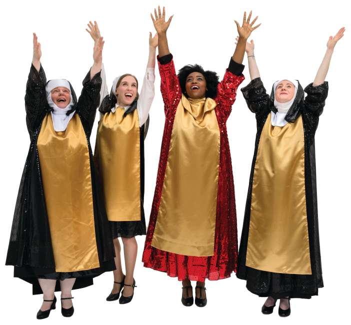 Rental Costumes for Sister Act Glitter Habits Deloris, Mary Roberts, Mary Lazurus, and Mary Patrick